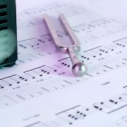 metronome, tuner, sheet music, colorful