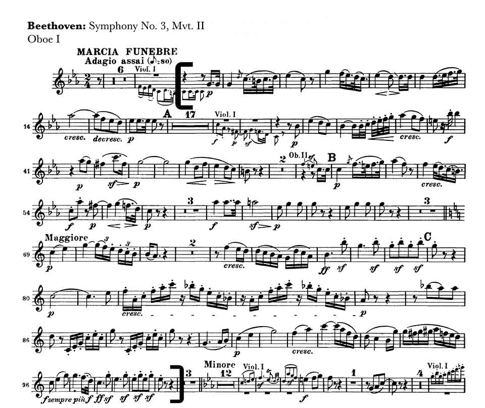 Beethoven Symphony 3 mvt 2 oboe orchestra audition excerpt