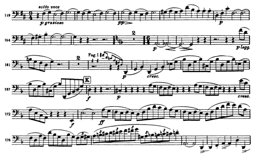 Brahms Symphony 3 Bassoon orchestral audition excerpt 3b