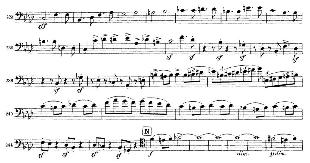 Brahms Symphony 3 Bassoon orchestral audition excerpt 5a