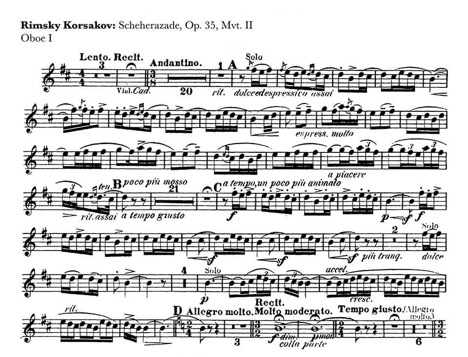 Scherezade oboe orchestral audition excerpt
